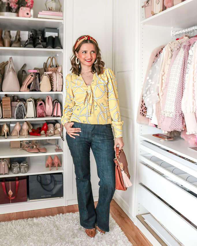 Cabi-Reef-Knot-Blouse-Trouser-Jeans Yellow Scarf Print Blouse Wide Leg Dark Rinse Jeans Blogger Outfit