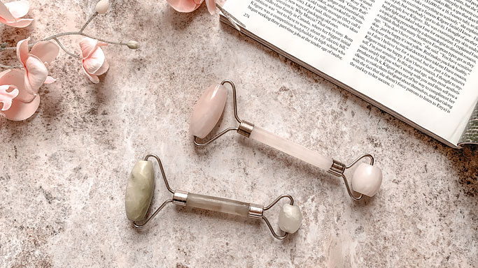 How to Use Facial Rollers - jade and rose quartz rollers