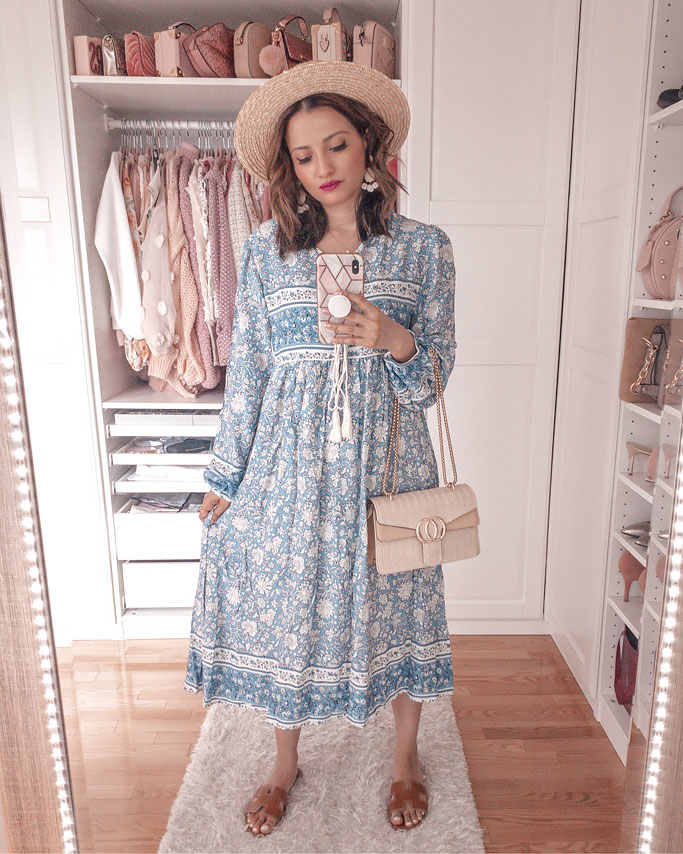 amazon-nightgown-dress-r-vivimos-dress-blogger-outfit hermes dupe sandals straw boater hat gucci dupe bag