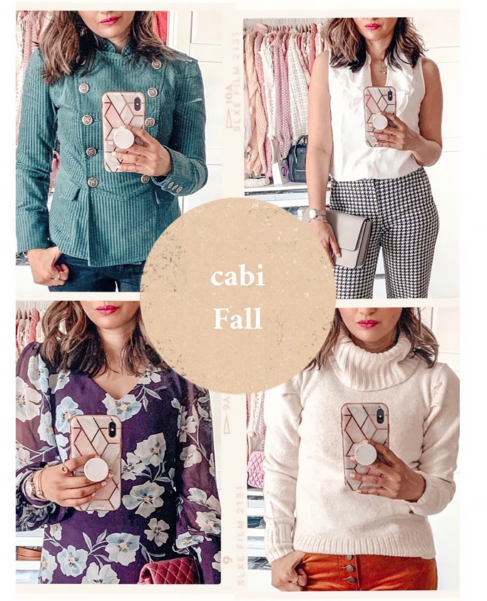 cabi-fall-2020-portrait-blouse-houndstooth-trouser-blogger-white puff tuck turtleneck brown cordsfloral ellery dress emerald lennon jacket outfit