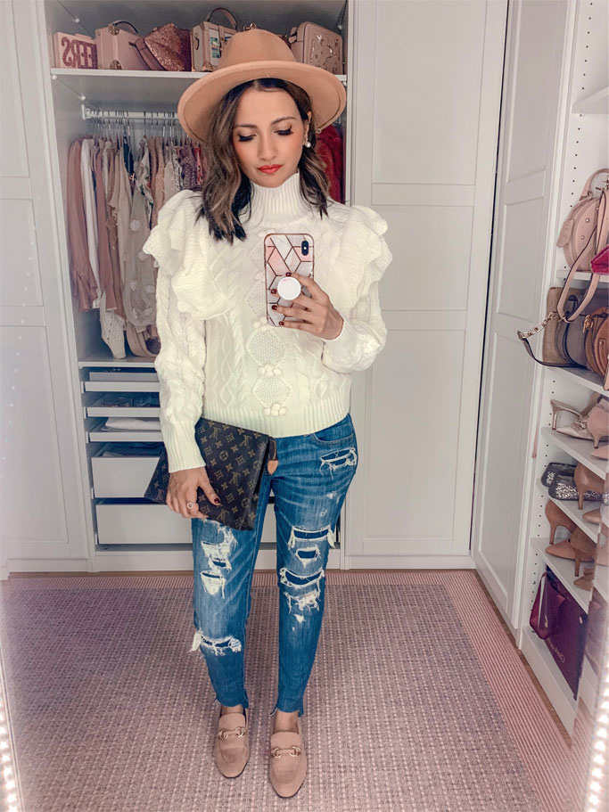 Five Must Have Amazon Fall Sweaters Bobble white Pom Pom sweater Louis Vuitton Poche Toilette 26 Blogger Outfit