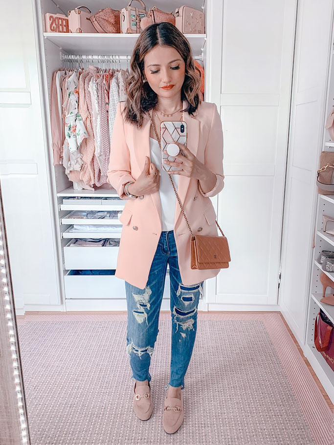 Pink Blazer Distressed Jeans Beige Chanel Wallet on a Chain Blogger Outfit