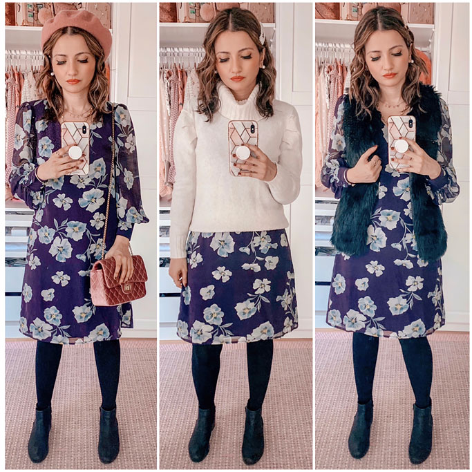Three Ways to Style a Fall Florals purple dress cabi Ellery Dress Pink Beret Blogger Outfit