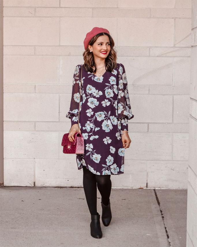 Fall Florals purple dress cabi Ellery Dress Pink Beret Blogger Outfit