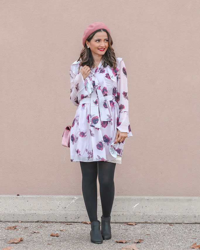 purple floral mini dress beret blogger outfit