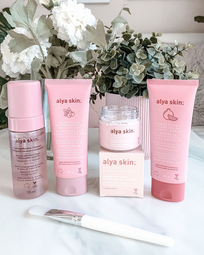 Product Review Alya Skin Pink Clay Mask Foaming Micellar Cleanser Pomegranate Exfoliating Scrub Native Berries Moisturizer