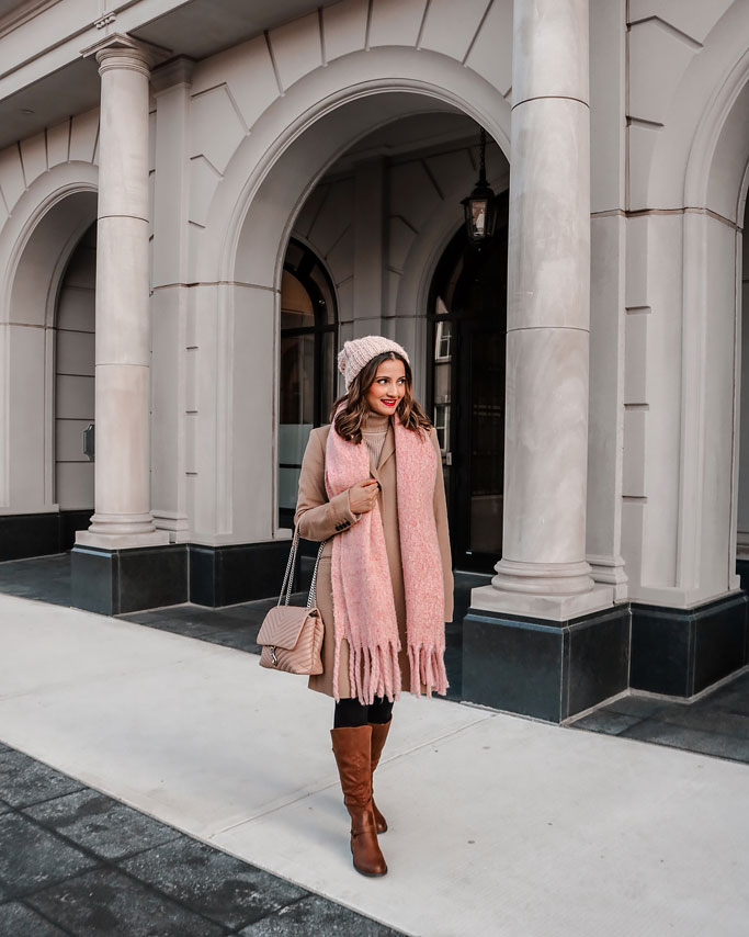 Rebecca Minkoff Edie Bag in Doe Camel Coat Pink Scarf Pink Beanie Hat Tan Boots Blogger Outfit