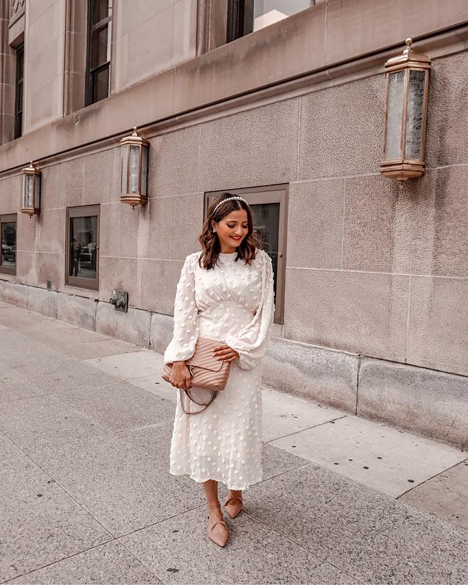 Rebecca Minkoff Edie Bag in Doe White Pom Pom midi Chicwish Dress Blogger Outfit