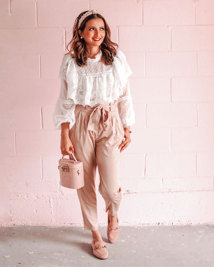 white lace ruffle top paperbag pants blogger outfit