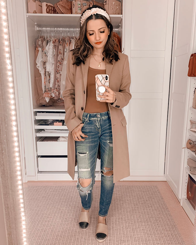 camel coat brown bodysuit distressed jeans blogger outfit